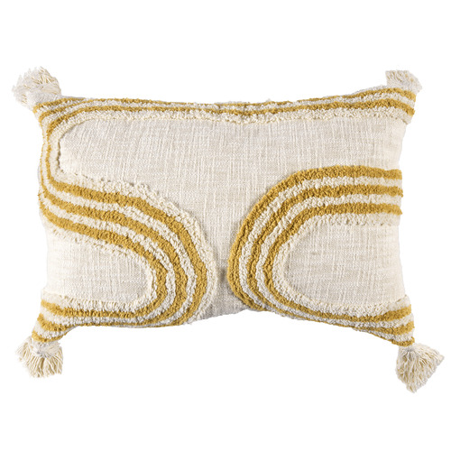 Temple & Webster White Tasselled Elm Tufted Cotton Cushion