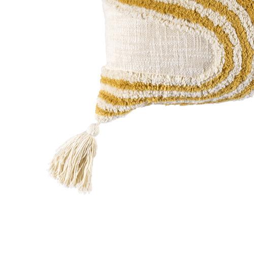 White Elm Tufted Tasselled Cotton Cushion