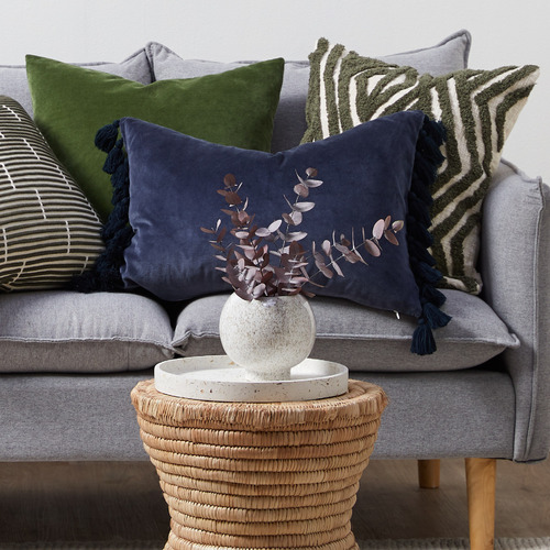 Temple & Webster Navy Minnie Tasselled Velvet Cushion