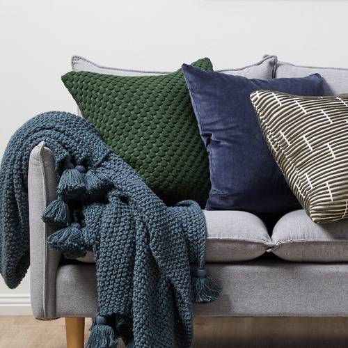 Temple & Webster Green Leo Quilted Cotton Cushion