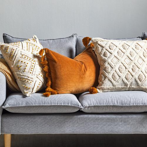 Temple & Webster Caramel Minnie Tasselled Velvet Cushion