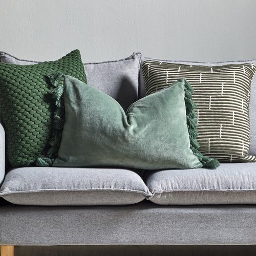 Temple & Webster Sage Minnie Tasselled Velvet Cushion