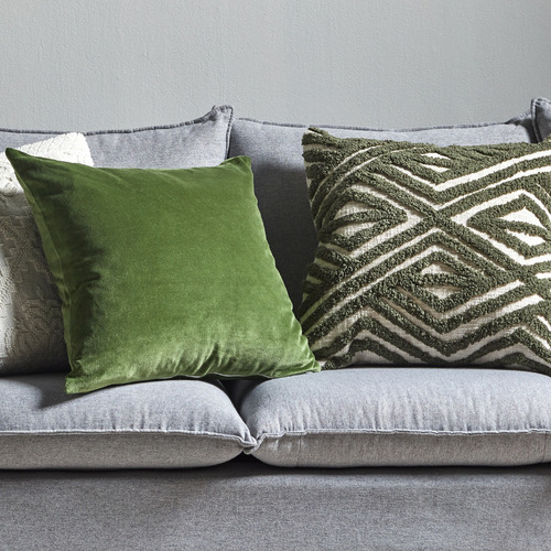 Temple & Webster Olive Clove Tufted Cotton Cushion