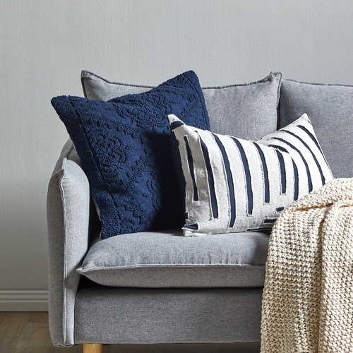 Temple & Webster Navy Edie Hand-Loomed Cotton Cushion