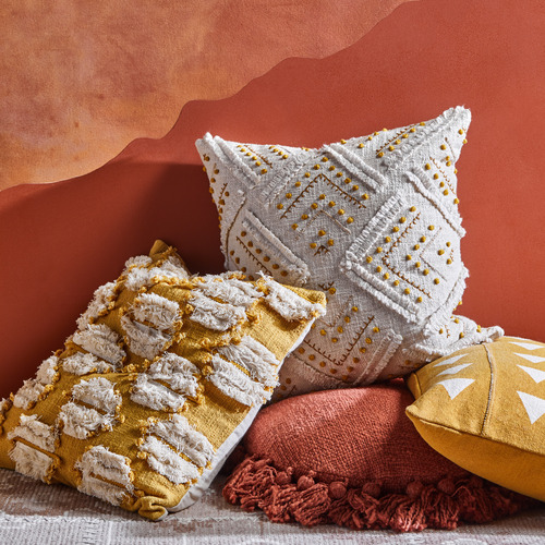 Temple & Webster Ochre Prairie Embroidered Cotton Cushion