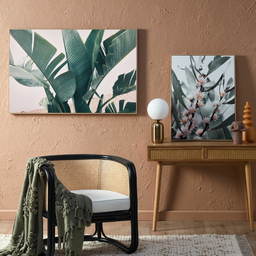 Temple & Webster Tropical Leaves Blush Framed Canvas Wall Art