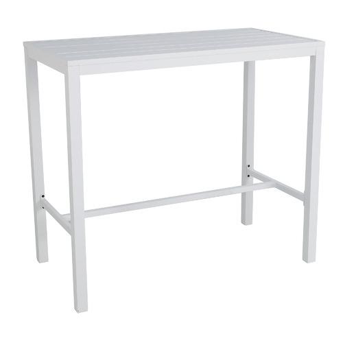 White Kos Rectangular Aluminium Outdoor Bar Table