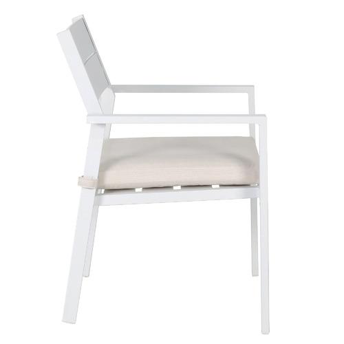 White Kos Aluminium Outdoor Slatted Dining Chairs