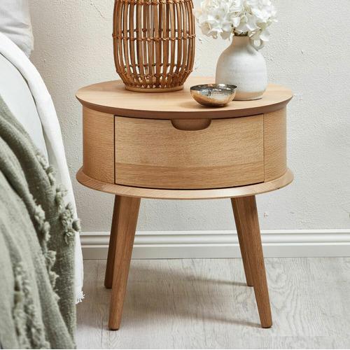 Olsen Scandinavian Style Curved 1 Drawer Bedside Table