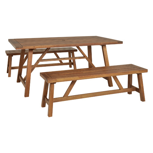 Temple & Webster 4 Seater Natural Ranch Acacia Wood Outdoor Dining Bench Set