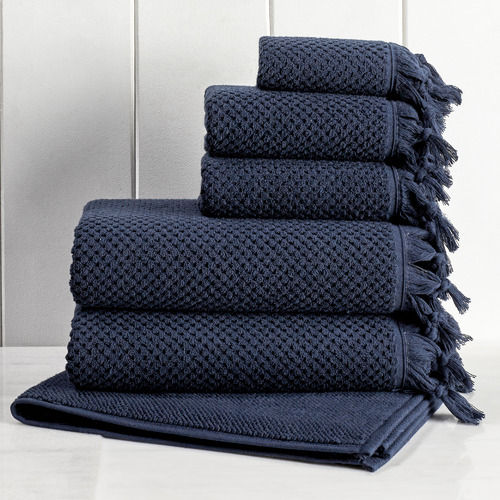 Temple & Webster 6 Piece Navy Hand-Knotted Turkish Cotton Towel Set