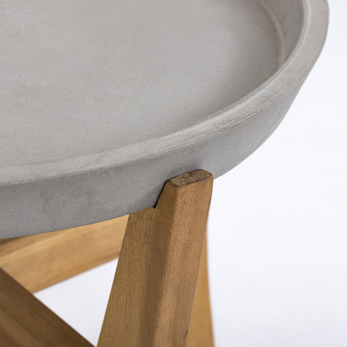 Chet Cement & Wood Outdoor Side Table