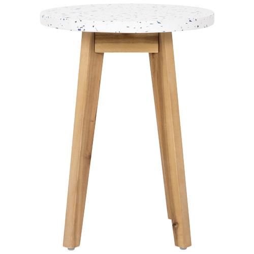 Kenzi Terrazzo & Wood Outdoor Side Table