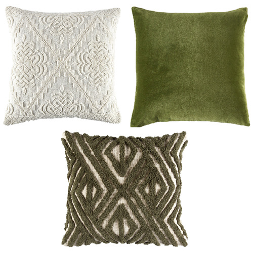 Temple & Webster 3 Piece Green & Ivory Cotton Cushion Set