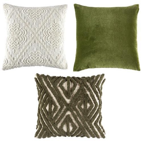 3 Piece Green & Ivory Cushion Set