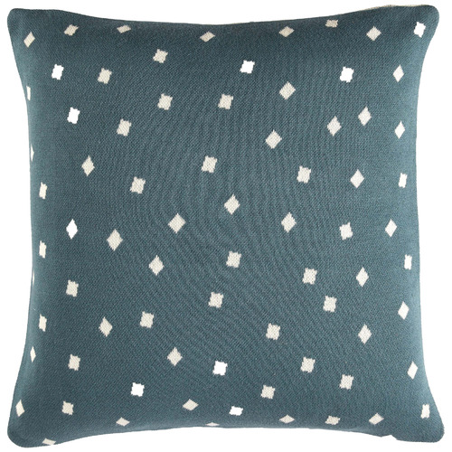 Temple & Webster 3 Piece Petrol Blue & Light Grey Cotton Cushions & Throw Set