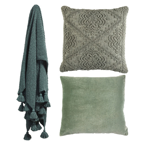 Temple & Webster 3 Piece Sage & Petrol Blue Cotton Cushions & Throw Set