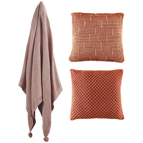 Temple & Webster 3 Piece Cinnamon & Blush Cotton Cushions & Throw Set