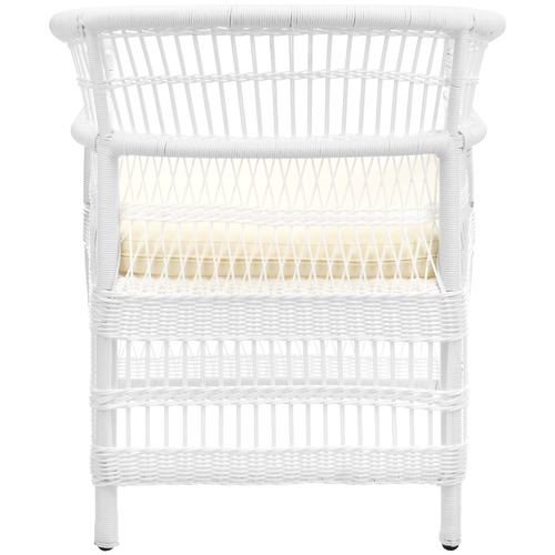 Temple & Webster White Malawi Style PE Rattan Outdoor Cushioned Dining Chair