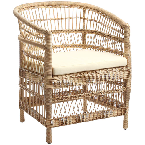 Natural Malawi Style PE Rattan Outdoor Cushioned Dining Chair