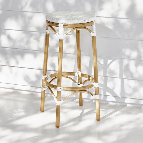 76cm White Paris PE Rattan Outdoor Cafe Barstool