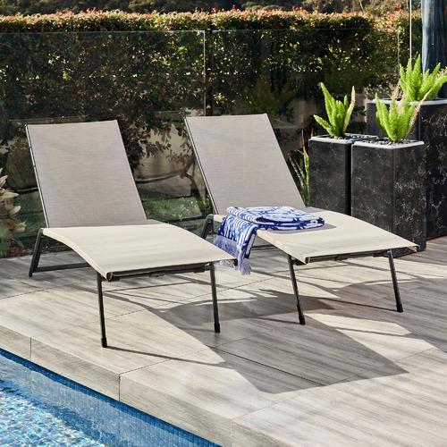 Deacon Steel & Textilene Outdoor Sun Lounges