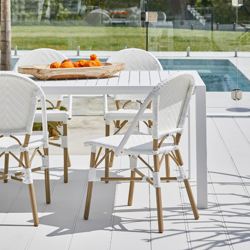 White Paris PE Rattan Outdoor Cafe Dining Chairs