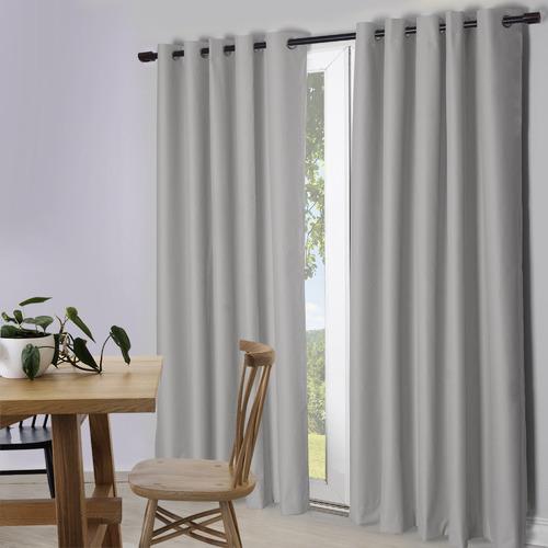 Temple & Webster Light Grey Lexington Eyelet Blockout Curtains