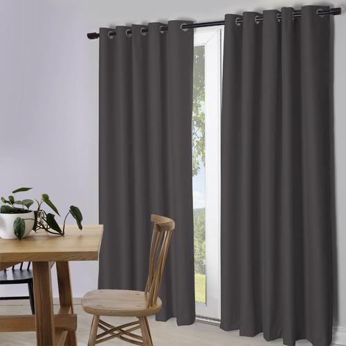 Temple & Webster Charcoal Lexington Eyelet Blockout Curtains