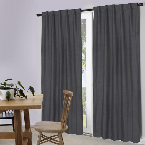 Temple & Webster Charcoal Lexington Concealed Tab Top Blockout Curtains