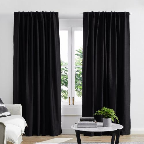 Temple & Webster Black Lexington Concealed Tab Top Blockout Curtains