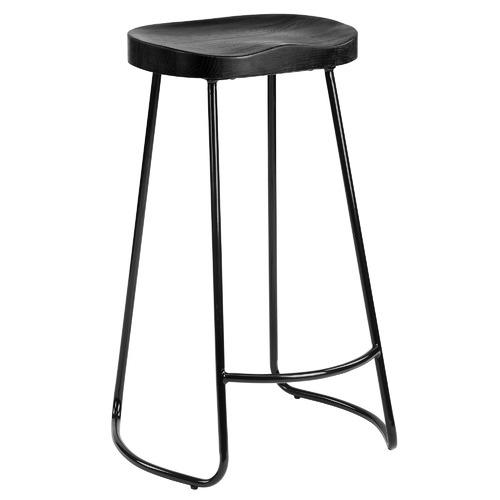 75cm Vintage-Style Elm Wood Barstools with Black Legs