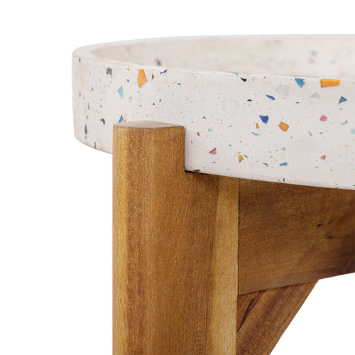 Mazie Terrazzo & Wood Outdoor Side Table
