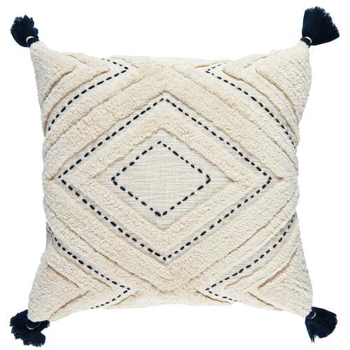 Navy Tasselled Elkie Square Cotton Cushion