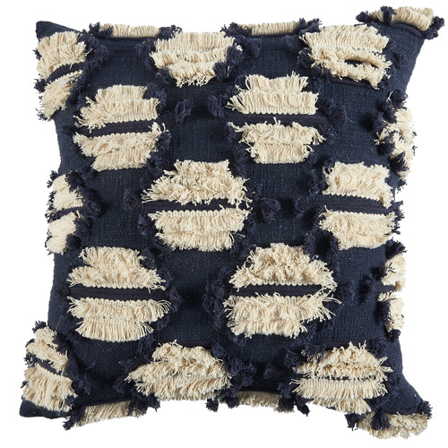 Navy Embroidered Demi Cotton Cushion