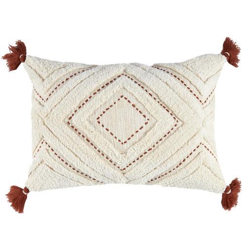 Ochre Tasselled Elkie Rectangular Cotton Cushion