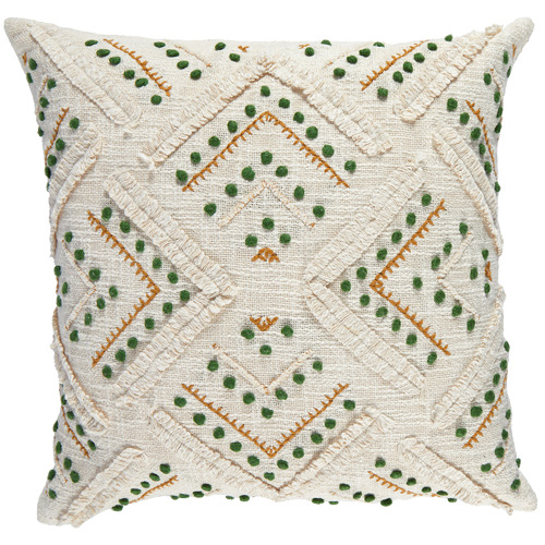 Green Embroided Prarie Cotton Cushion