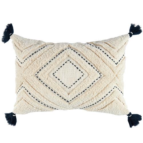 Navy Tasselled Elkie Rectangular Cotton Cushion