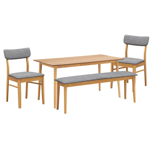 Temple & Webster 4 Seater Light Timber Tuva Dining Table Set
