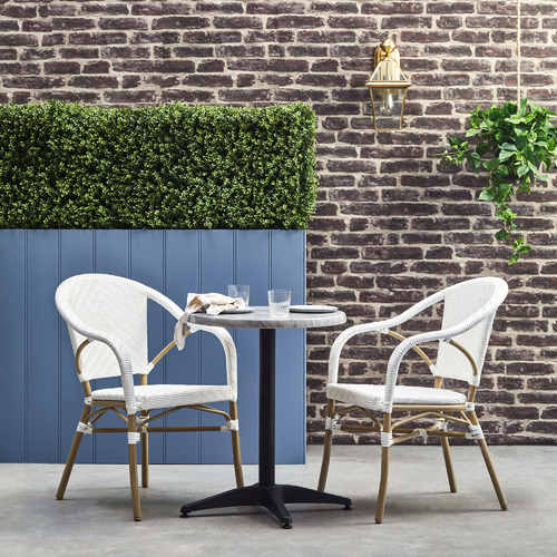 Temple & Webster White Paris PE Rattan Outdoor Cafe Armchairs