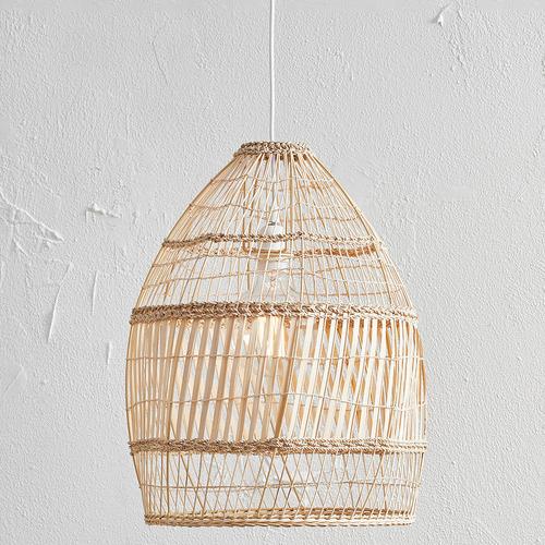 Natural Amalfi Rattan 50cm Tall Pendant Light