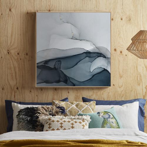 Harmony Navy Framed Canvas Wall Art