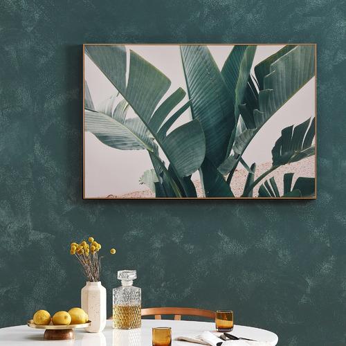 Tropical Leaves Blush Framed Canvas Wall Art