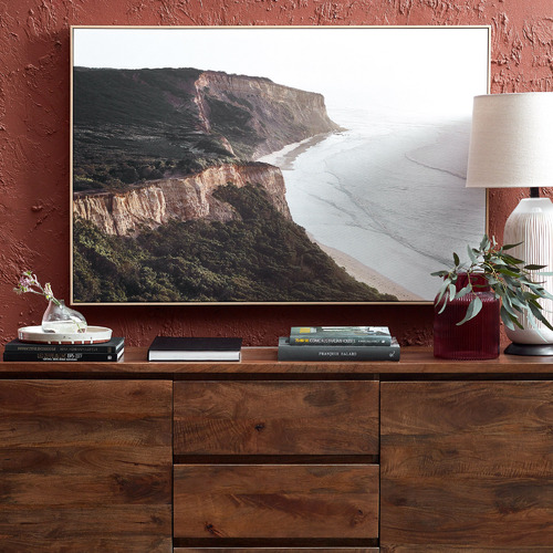 Summer Cliff View Framed Canvas Wall Art