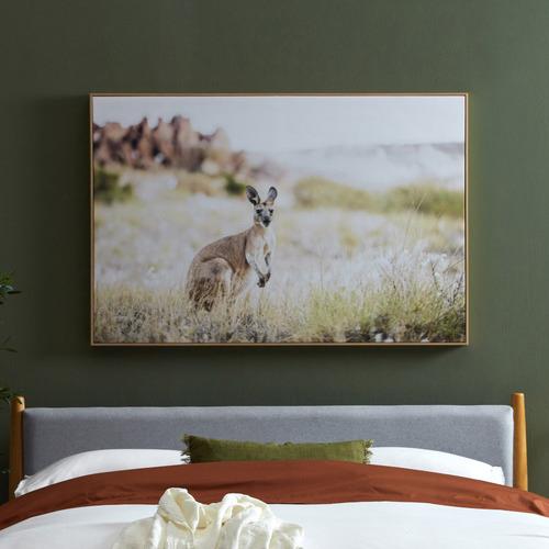 Temple & Webster Red Kangaroo Framed Canvas Wall Art