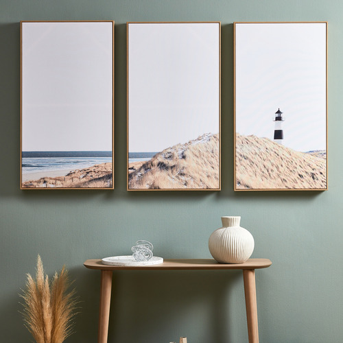 Lighthouse Lookout Framed Canvas Wall Art Triptych