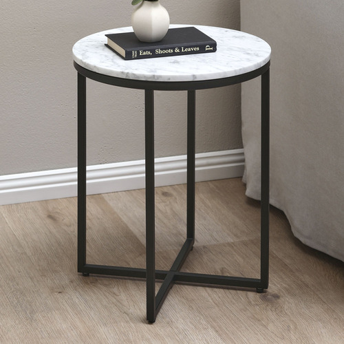 Temple Webster 40cm White Serena, Marble Top Table Round