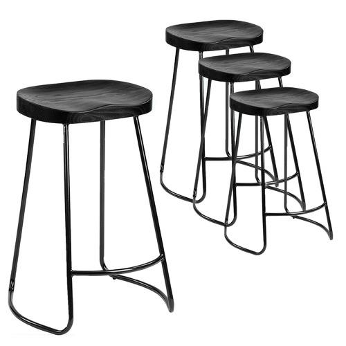 66cm Vintage-Style Black Elm Wood Barstools with Black Legs