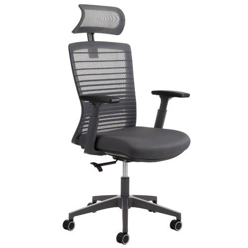 Grey Executive Office Chair with Headrest