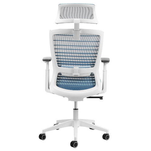 Blue & White Executive Office Chair with Headrest